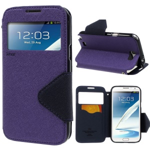 Roar Korea for Samsung Galaxy Note 2 N7100 Diary View Window Leather Stand Shell - Purple