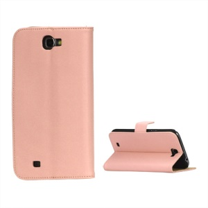 Genuine Split Leather Wallet Stand Case for Samsung Galaxy Note II N7100 - Pink