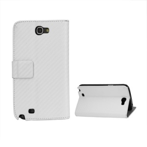Carbon Fiber Leather Wallet Stand Case for Samsung Galaxy Note 2 / II N7100 - White
