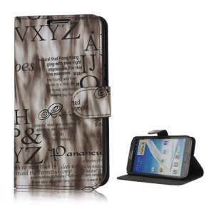 Streamer English Letters Leather Wallet Stand Case for Samsung Galaxy Note 2 / II N7100 - Coffee