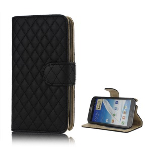 Rhombus Leather Wallet Magnetic Case Cover Stand for Samsung Galaxy Note 2 / II N7100 - Black