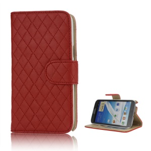 Rhombus Leather Wallet Magnetic Case Cover Stand for Samsung Galaxy Note 2 / II N7100 - Red