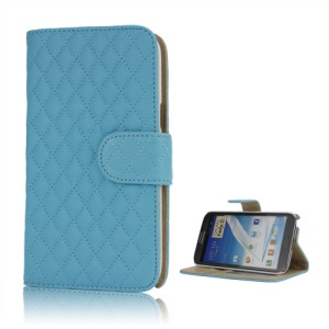 Rhombus Leather Wallet Magnetic Case Cover Stand for Samsung Galaxy Note 2 / II N7100 - Blue