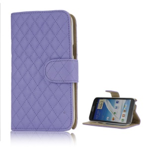 Rhombus Leather Wallet Magnetic Case Cover Stand for Samsung Galaxy Note 2 / II N7100 - Purple
