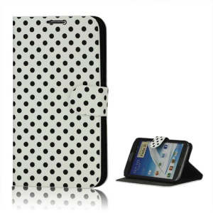 Polka Dot Diary Leather Stand Case for Samsung Galaxy Note 2 / II N7100 - Black / White