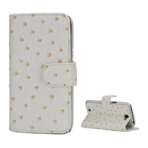 Ostrich Grain Soft Leather Credit Card Wallet Stand Case for Samsung Galaxy Note 2 / II N7100 - White