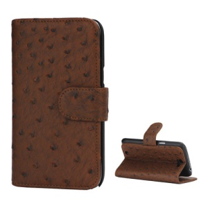 Ostrich Grain Soft Leather Credit Card Wallet Stand Case for Samsung Galaxy Note 2 / II N7100 - Brown