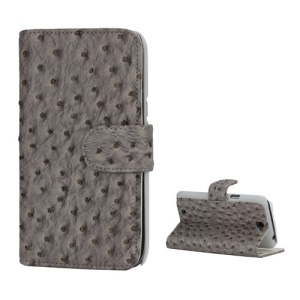 Ostrich Grain Soft Leather Credit Card Wallet Stand Case for Samsung Galaxy Note 2 / II N7100 - Grey