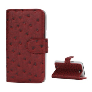 Ostrich Grain Soft Leather Credit Card Wallet Stand Case for Samsung Galaxy Note 2 / II N7100 - Red