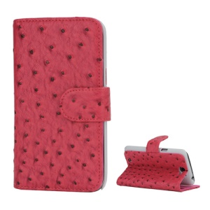 Ostrich Grain Soft Leather Credit Card Wallet Stand Case for Samsung Galaxy Note 2 / II N7100 - Rose