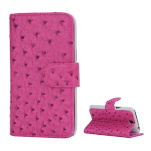 Ostrich Grain Soft Leather Credit Card Wallet Stand Case for Samsung Galaxy Note 2 / II N7100 - Pink