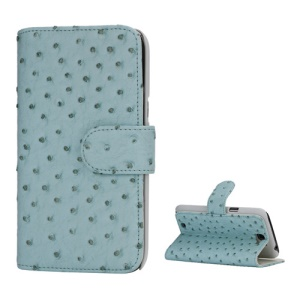 Ostrich Grain Soft Leather Credit Card Wallet Stand Case for Samsung Galaxy Note 2 / II N7100 - Light Green