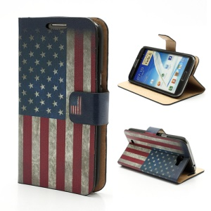 Retro American National Flag Card Holder Leather Stand Case for Samsung Galaxy Note 2 / II N7100
