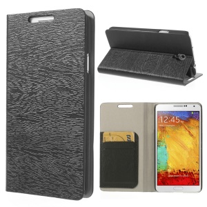 Black Tree Bark Texure Leather Flip Case for Samsung Galaxy Note 3 Neo N7502 N7505 w/ Card Slots & Stand