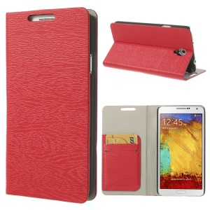 Red Tree Bark Texure Leather Flip Case for Samsung Galaxy Note 3 Neo N7502 N7505 w/ Card Slots & Stand