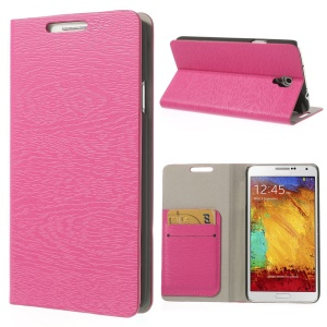Rose Tree Bark Texure Leather Flip Cover for Samsung Galaxy Note 3 Neo N750 w/ Card Slots & Stand