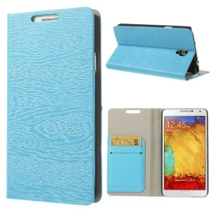 Blue Tree Bark Texure Leather Flip Cover for Samsung Galaxy Note 3 Neo N750 w/ Card Slots & Stand