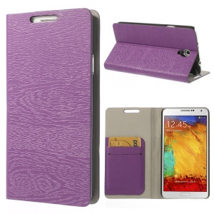 Purple for Samsung Galaxy Note 3 Neo N750 Tree Bark Texure Leather Flip Cover w/ Card Slots & Stand