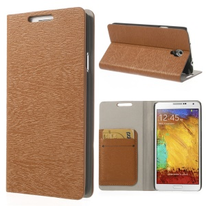 Brown for Samsung Galaxy Note 3 Neo N750 Tree Bark Texure Leather Flip Shell w/ Card Slots & Stand