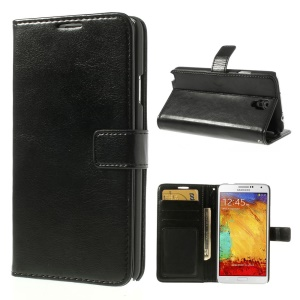 Crazy Horse Leather Wallet Case w/ Stand for Samsung Galaxy Note 3 Neo N750 N7502 - Black