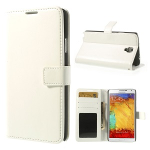 Crazy Horse Wallet Leather Skin Case Stand for Samsung Galaxy Note 3 Neo N750 N7502 - White
