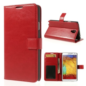 Crazy Horse Leather Stand Cover w/ Wallet for Samsung Galaxy Note 3 Neo N750 N7505 - Red
