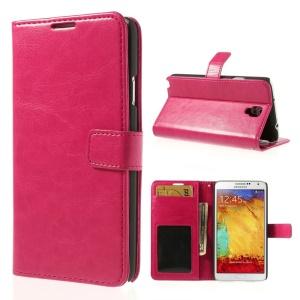 Crazy Horse Protective Leather Wallet Case for Samsung Galaxy Note 3 Neo N750 N7505 - Fuchsia