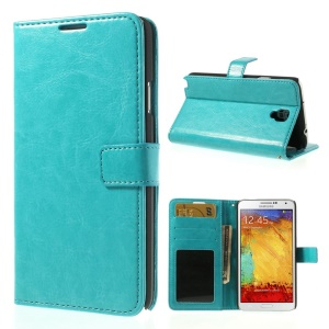 Crazy Horse Folio Stand Leather Shell Wallet for Samsung Galaxy Note 3 Neo N750 N7505 - Baby Blue