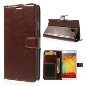 Crazy Horse Wallet Leather Cover with Stand for Samsung Galaxy Note 3 Neo N750 N7502 - Brown
