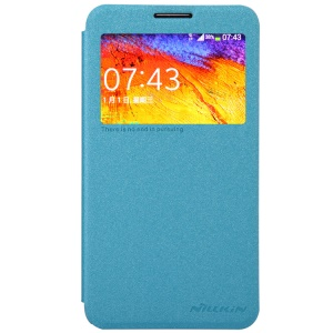 Nillkin Sparkle Series for Samsung Galaxy Note 3 Neo N750 N7505 Window View Leather Cover - Blue