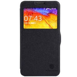 Black Nillkin Fresh Series Window View Leather Flip Case for Samsung Galaxy Note 3 Neo N750 N7505