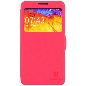 Red Nillkin Fresh Series Window View Leather Flip Cover for Samsung Galaxy Note 3 Neo N750 N7505