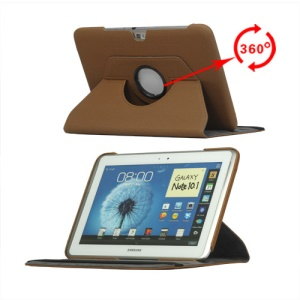Cloth Rotary Protective Case for Samsung Galaxy Note 10.1 N8000 N8010 - Brown