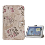 Peony Letter Leather Case with Stand for Samsung Galaxy Note 10.1 N8000 N8010 - Pink