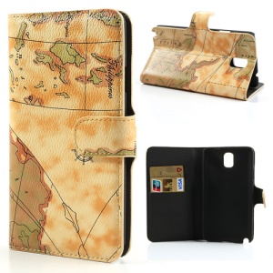 Yellow World Map Leather Wallet Cover for Samsung Galaxy Note 3 N9000 w/ Stand