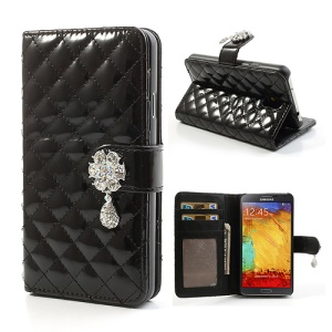 Black for Samsung Galaxy Note 3 N9000 Rhombus Wallet Leather Case Stand w/ Diamond Flower Flap