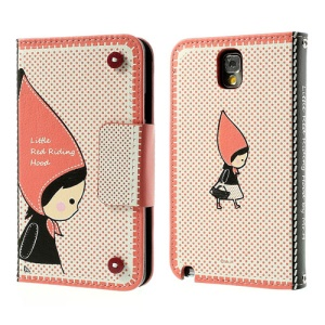 Mr.H Little Red Riding Hood Wallet Leather Cover for Samsung Galaxy Note 3 N9005 N9002 N9000