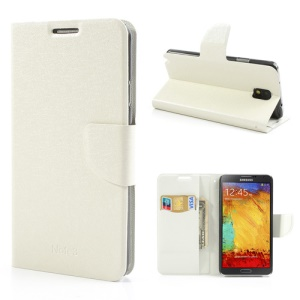 White Wallet Leather Stand Case for Samsung Galaxy Note 3 III N9005 N9002 with Silk Texture