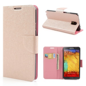 Pink Stand Leather Cover for Samsung Galaxy Note 3 III N9005 N9000 with Silk Texture