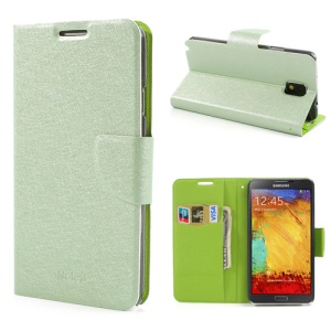 Green for Samsung Galaxy Note 3 III N9005 N9002 Silk Texture Wallet Leather Stand Case
