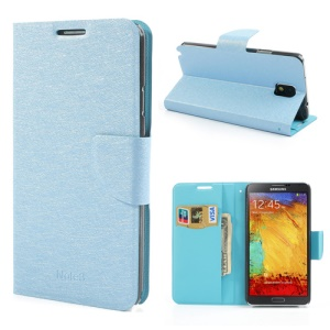Blue Silk Texture Protective Leather Wallet Case for Samsung Galaxy Note 3 N9005 N9000