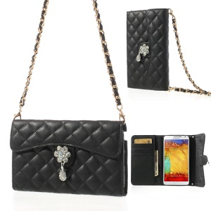 Diamond Flower Rhombus Leather Wallet Case w/ Shoulder Chain for Samsung Galaxy Note 3 N9005 - Black