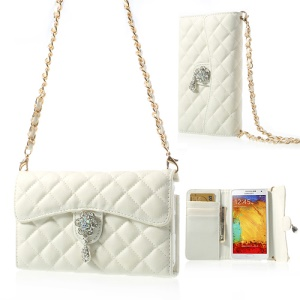 Diamond Flower Rhombus Leather Case Bag w/ Shoulder Chain for Samsung Galaxy Note 3 N9000 - White