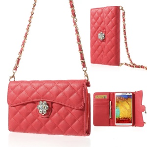 Diamond Flower Rhombus Wallet Leather Shell w/ Shoulder Chain for Samsung Galaxy Note 3 N9000 - Red