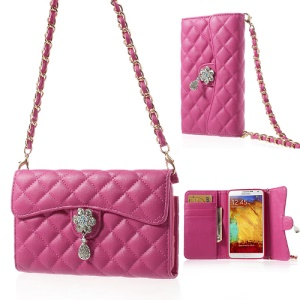 Diamond Flower Rhombus Wallet Leather Cover w/ Shoulder Chain for Samsung Galaxy Note 3 N9002 - Fuchsia