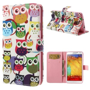 Multiple Owls Leather Wallet Case w/ Inner TPU Shell for Samsung Galaxy Note 3 N9000 N9002 N9005