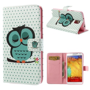 Green Sleeping Owl Leather Magnetic Case w/ Stand for Samsung Galaxy Note 3 N9000