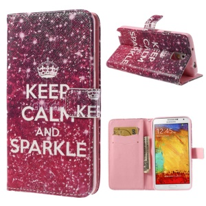 Quote Keep Calm and Sparkle PU Leather Case w/ Stand for Samsung Galaxy Note 3 N9005