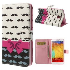 Mustaches & Bowknot Leather Wallet Case w/ Stand for Samsung Galaxy Note 3 N9002