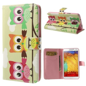 Three Colorful Owls Leather Wallet Cover w/ Stand for Samsung Galaxy Note 3 N9005